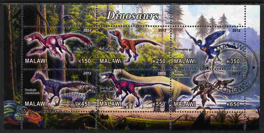 Malawi 2012 Dinosaurs #01 perf sheetlet containing 6 values cto used