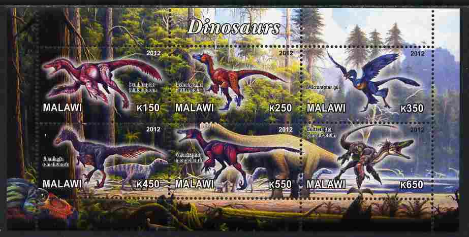 Malawi 2012 Dinosaurs #01 perf sheetlet containing 6 values unmounted mint