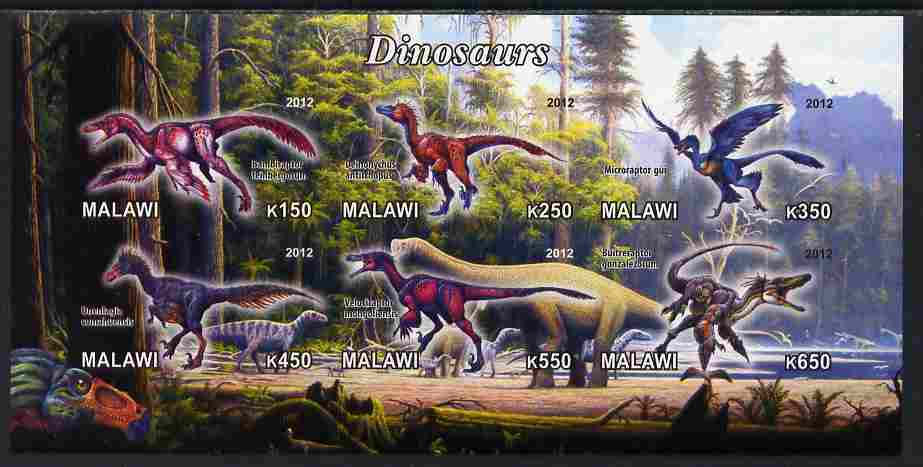 Malawi 2012 Dinosaurs #01 imperf sheetlet containing 6 values unmounted mint