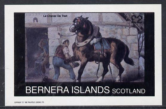 Bernera 1982 Animals (Horse with Blacksmith) imperf deluxe sheet (�2 value) unmounted mint