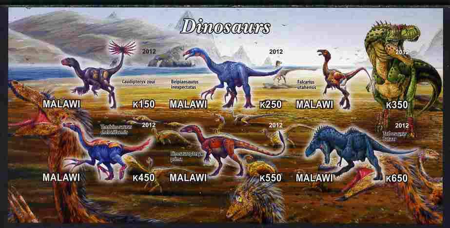 Malawi 2012 Dinosaurs #02 imperf sheetlet containing 6 values unmounted mint