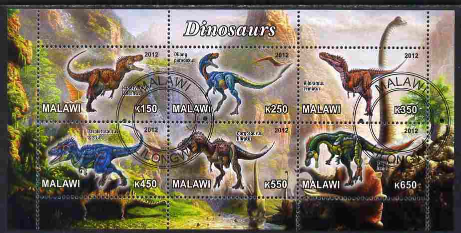 Malawi 2012 Dinosaurs #03 perf sheetlet containing 6 values cto used