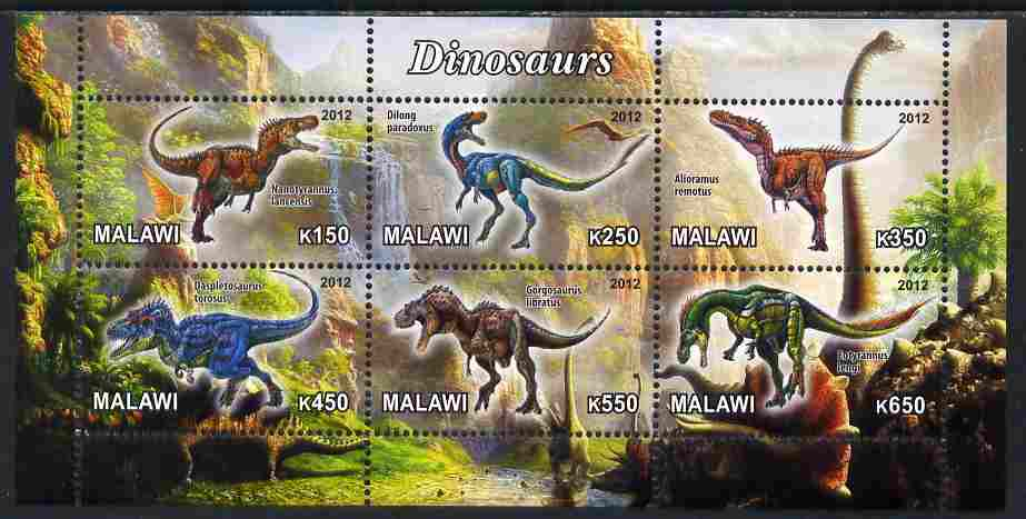 Malawi 2012 Dinosaurs #03 perf sheetlet containing 6 values unmounted mint