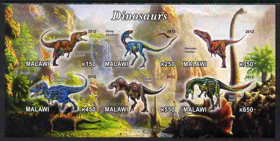 Malawi 2012 Dinosaurs #03 imperf sheetlet containing 6 values unmounted mint