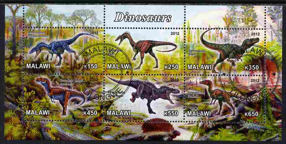Malawi 2012 Dinosaurs #04 perf sheetlet containing 6 values cto used