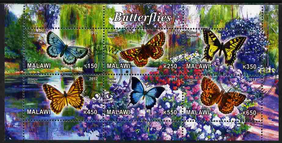 Malawi 2012 Butterflies #01 perf sheetlet containing 6 values cto used