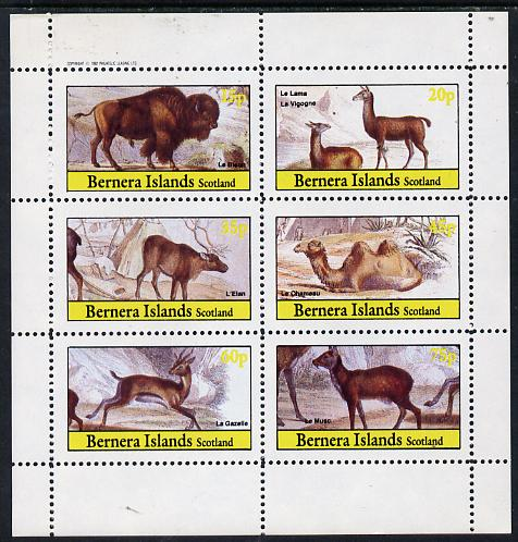 Bernera 1982 Animals (Bison, Llama, Deer, etc) perf set of 6 values (15p to 75p) unmounted mint