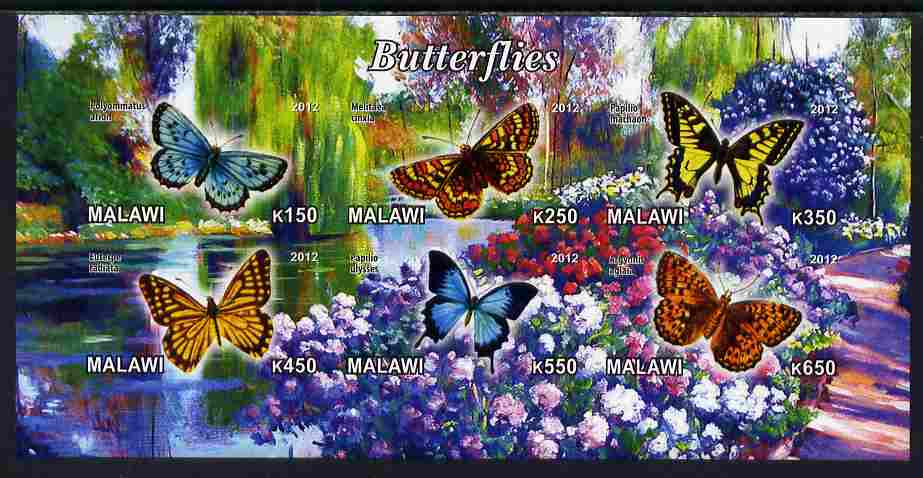 Malawi 2012 Butterflies #01 imperf sheetlet containing 6 values unmounted mint, stamps on , stamps on  stamps on butterflies