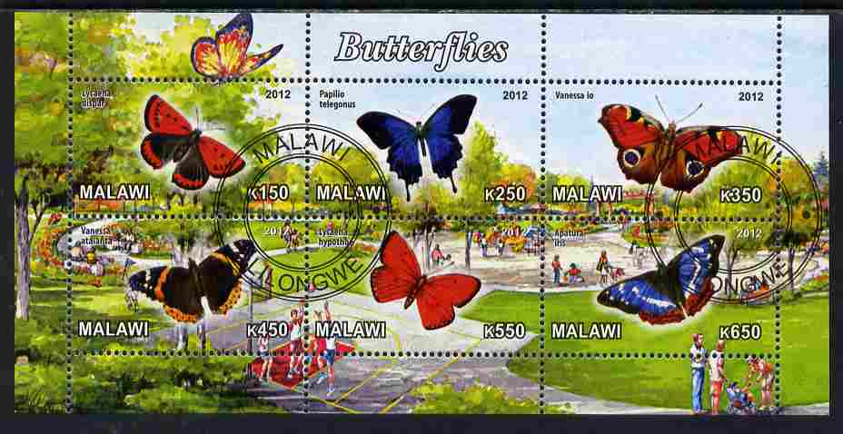 Malawi 2012 Butterflies #02 perf sheetlet containing 6 values cto used