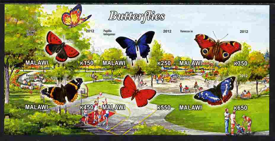 Malawi 2012 Butterflies #02 imperf sheetlet containing 6 values unmounted mint