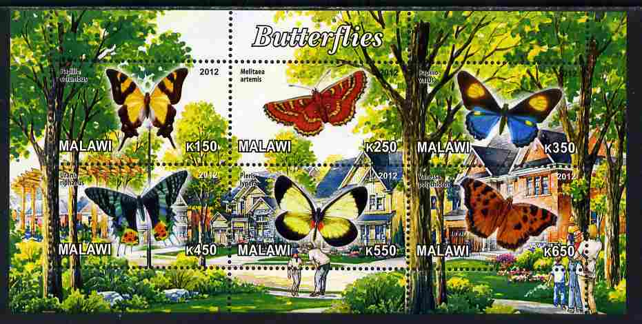 Malawi 2012 Butterflies #03 perf sheetlet containing 6 values unmounted mint