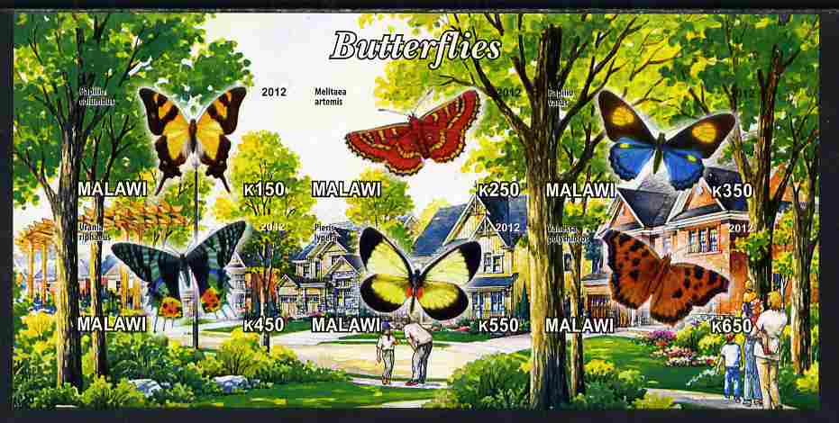 Malawi 2012 Butterflies #03 imperf sheetlet containing 6 values unmounted mint