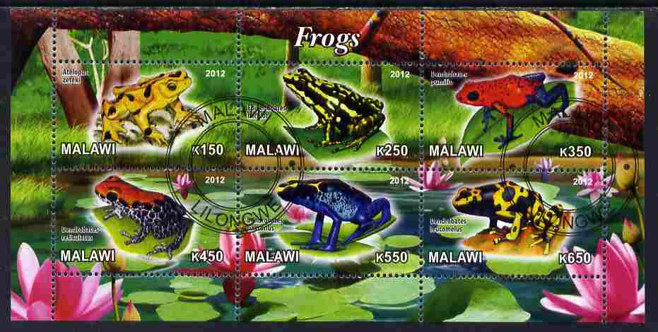 Malawi 2012 Frogs #2 perf sheetlet containing 6 values cto used