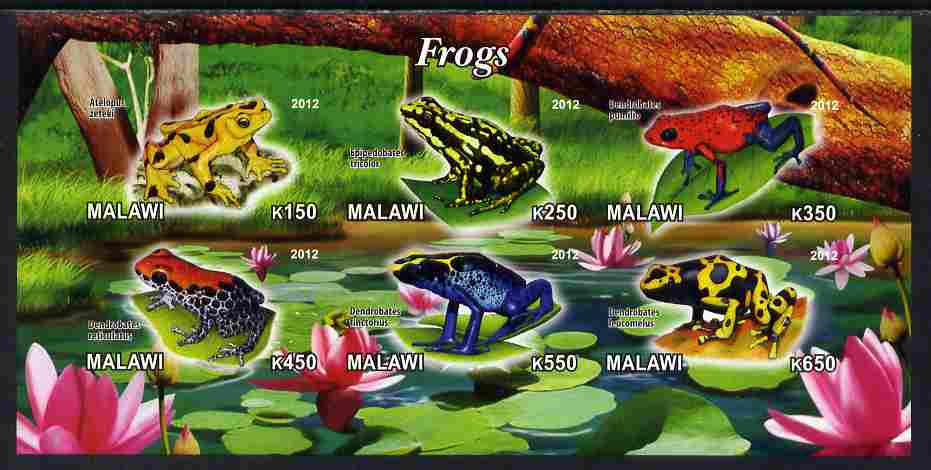 Malawi 2012 Frogs #2 imperf sheetlet containing 6 values unmounted mint