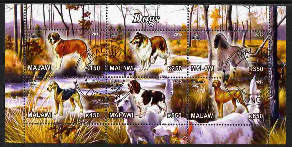 Malawi 2012 Dogs #3 perf sheetlet containing 6 values cto used