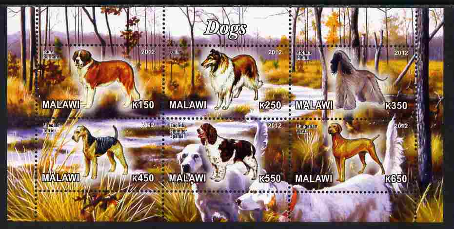 Malawi 2012 Dogs #3 perf sheetlet containing 6 values unmounted mint
