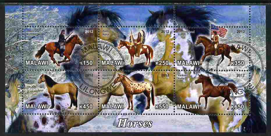 Malawi 2012 Horses #2 perf sheetlet containing 6 values cto used