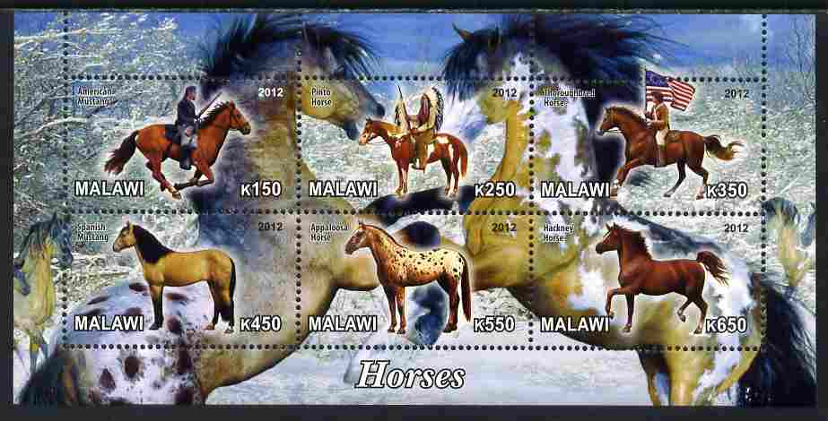 Malawi 2012 Horses #2 perf sheetlet containing 6 values unmounted mint