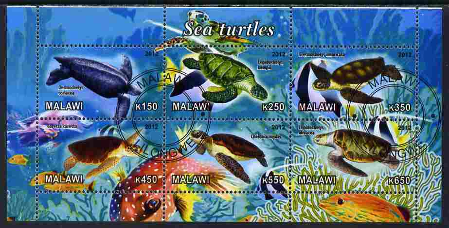 Malawi 2012 Sea Turtles perf sheetlet containing 6 values cto used