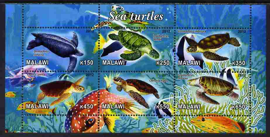 Malawi 2012 Sea Turtles perf sheetlet containing 6 values unmounted mint