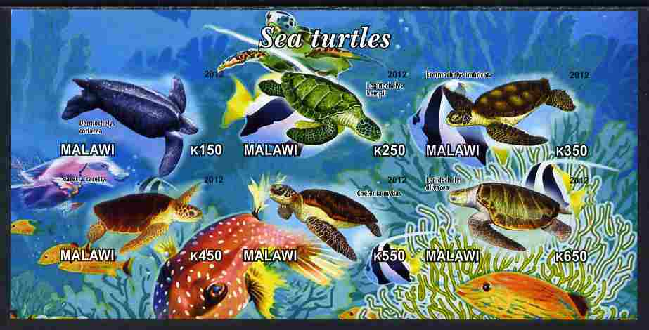 Malawi 2012 Sea Turtles imperf sheetlet containing 6 values unmounted mint