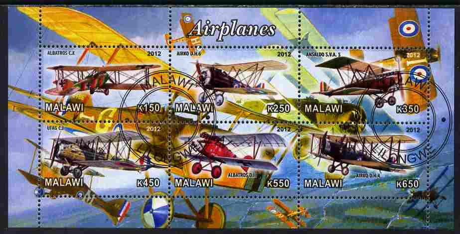 Malawi 2012 Early Bi-planes perf sheetlet containing 6 values cto used
