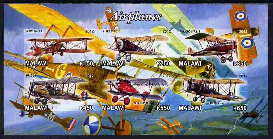 Malawi 2012 Early Bi-planes imperf sheetlet containing 6 values unmounted mint, stamps on aviation