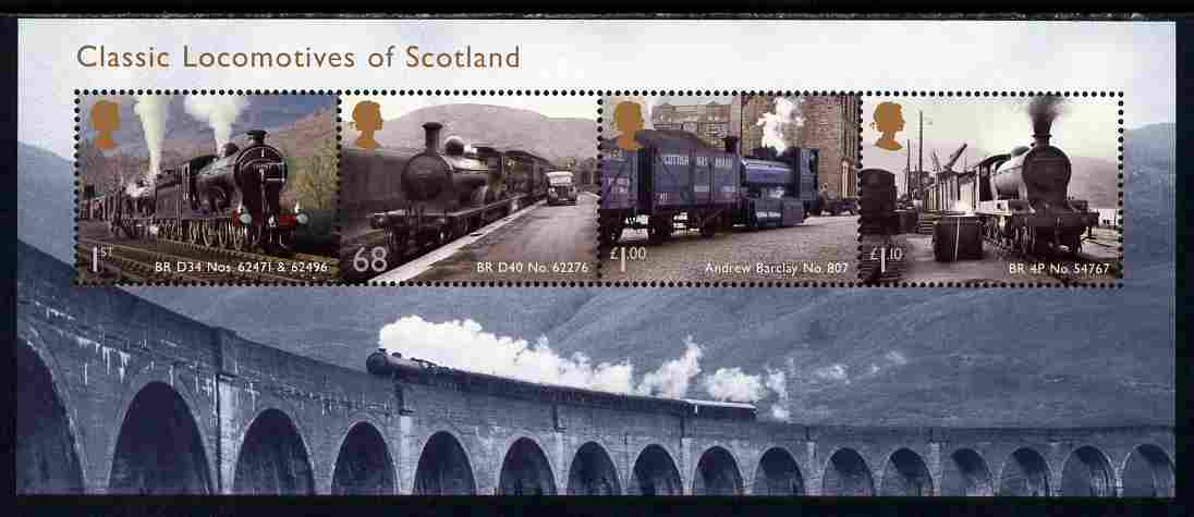 Great Britain 2012 Classic Locomotives of Scotland perf m/sheet unmounted mint