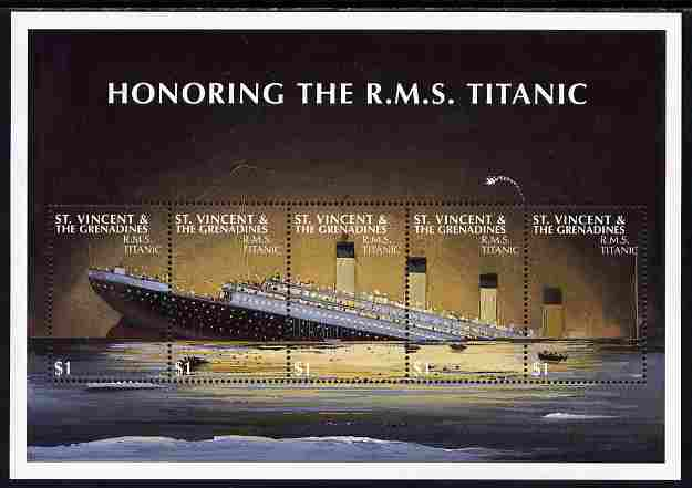 St Vincent 1997 85th Anniversary of Sinking of RMS Titanic perf sheetlet containing set of 5 values unmounted mint SG 3867a