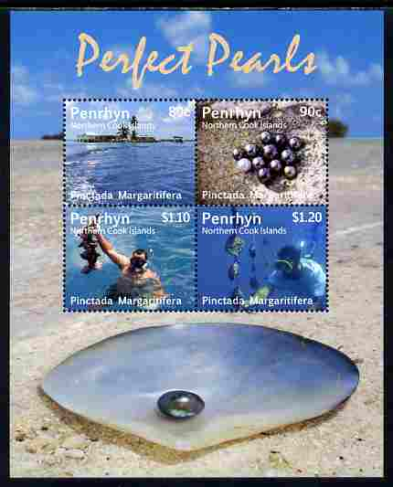 Cook Islands - Penrhyn 2011 Pearl Diving perf sheetlet containing 4 values unmounted mint