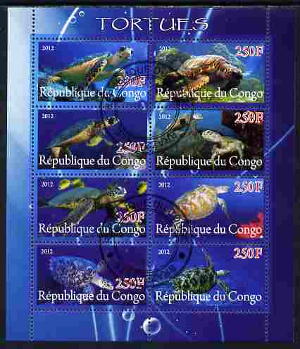 Congo 2012 Turtles perf sheetlet containing 8 values fine cto used