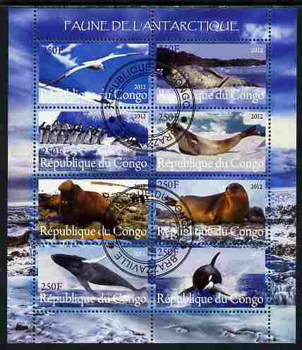 Congo 2012 Antarctic Fauna perf sheetlet containing 8 values fine cto used