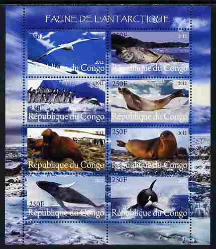 Congo 2012 Antarctic Fauna perf sheetlet containing 8 values unmounted mint
