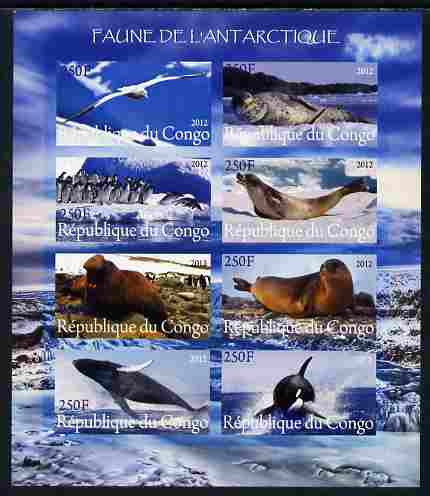 Congo 2012 Antarctic Fauna imperf sheetlet containing 8 values unmounted mint