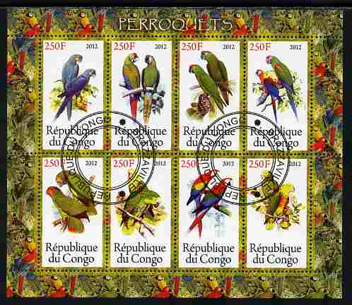 Congo 2012 Parrots perf sheetlet containing 8 values fine cto used