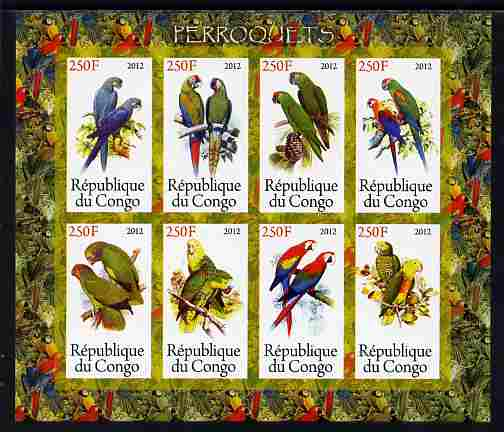Congo 2012 Parrots imperf sheetlet containing 8 values unmounted mint