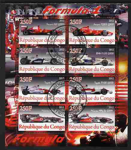 Congo 2012 Formula 1 perf sheetlet containing 8 values fine cto used, stamps on cars, stamps on  f1 , stamps on formula 1, stamps on racing cars, stamps on ferrari