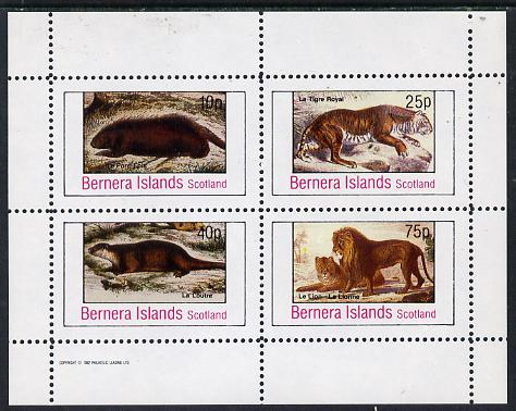 Bernera 1982 Animals (Tiger, Otter etc) perf  set of 4 values (10p to 75p) unmounted mint, stamps on , stamps on  stamps on animals    cats