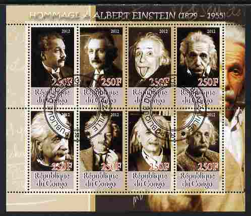 Congo 2012 Albert Einstein perf sheetlet containing 8 values fine cto used