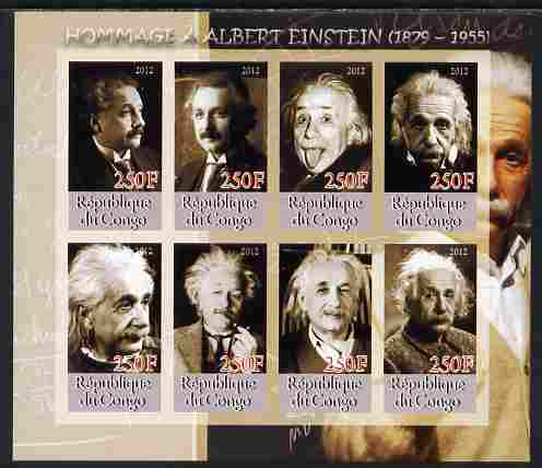 Congo 2012 Albert Einstein imperf sheetlet containing 8 values unmounted mint