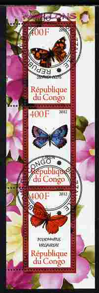 Congo 2012 Butterflies #1 perf sheetlet containing 3 values fine cto used