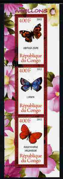 Congo 2012 Butterflies #1 perf sheetlet containing 3 values unmounted mint