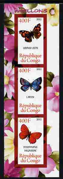 Congo 2012 Butterflies #1 imperf sheetlet containing 3 values unmounted mint
