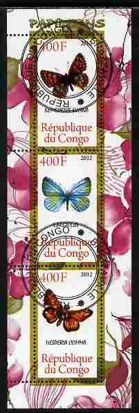 Congo 2012 Butterflies #2 perf sheetlet containing 3 values fine cto used