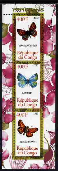 Congo 2012 Butterflies #2 perf sheetlet containing 3 values unmounted mint