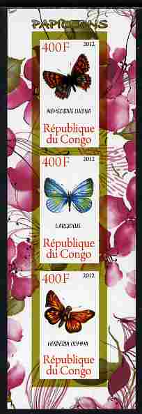Congo 2012 Butterflies #2 imperf sheetlet containing 3 values unmounted mint