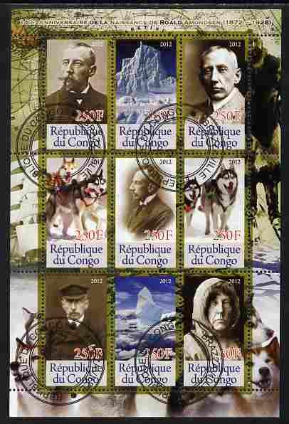 Congo 2012 Roald Amundsen perf sheetlet containing 9 values fine cto used