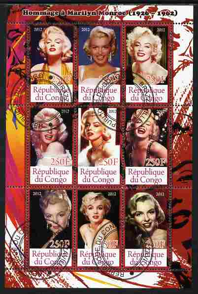 Congo 2012 Marilyn Monroe perf sheetlet containing 9 values fine cto used