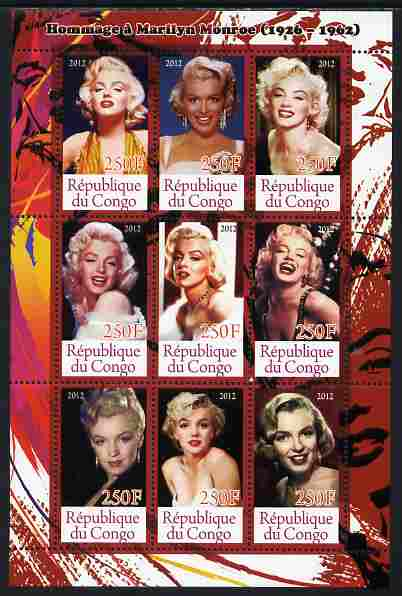 Congo 2012 Marilyn Monroe perf sheetlet containing 9 values unmounted mint