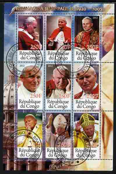 Congo 2012 Pope John Paul II perf sheetlet containing 9 values fine cto used